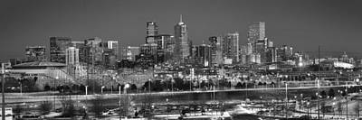 Photograph - Denver Skyline At Dusk Black And White Bw Evening Panorama Broncos Colorado  by Jon Holiday