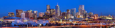 Denver Skyline Photograph - Denver Skyline At Dusk Evening Color Evening Extra Wide Panorama Broncos by Jon Holiday