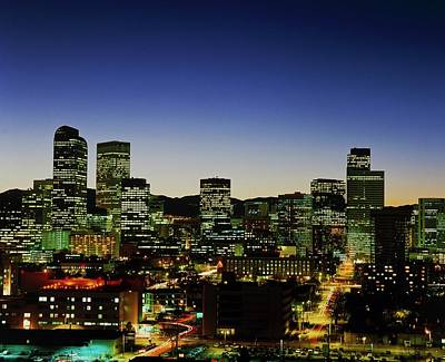 Denver Skyline Photograph - Denver Skyline At Night by Alex Bartel/science Photo Library