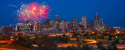 Denver Skyline Photograph - Denver Skyline Fireworks by Steve Gadomski
