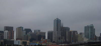 Photograph - Denver Skyline Foggy  by Trent Mallett
