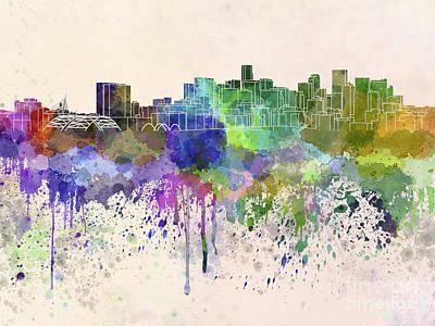 Splatter Digital Art - Denver Skyline In Watercolor Background by Pablo Romero