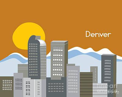 Denver Skyline Print Print by Karen Young