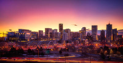 Denver Skyline Photograph - Denver Sunrise by Darren  White