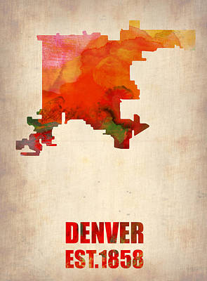 Denver City Wall Art - Digital Art - Denver Watercolor Map by Naxart Studio