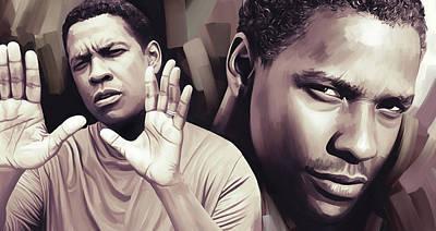 Portraits Mixed Media - Denzel Washington Artwork by Sheraz A