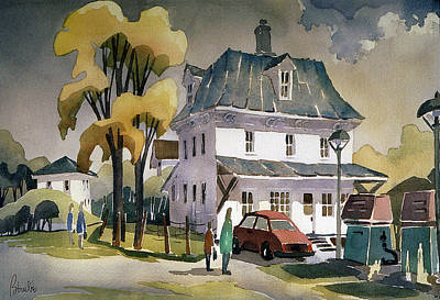 Eastern Townships Painting - Depaneur A Vale Perkins 22x30 by Jean-Marc Berube
