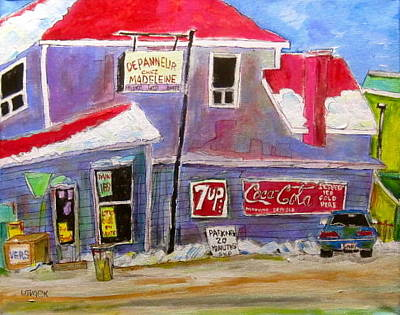 Handystore Painting - Depaneur Chez Madeleine by Michael Litvack