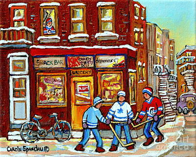 Kik Cola Painting - Depanneur 7 Jours-verdun-montreal -hockey De Rue-winter City Scene-carole Spandau by Carole Spandau