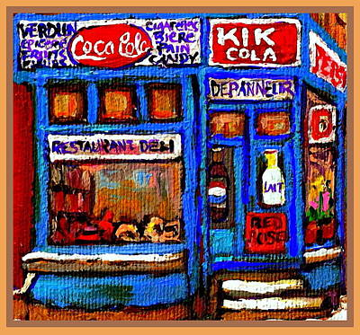 Store Window Display Painting - Depanneur Epicerie Marche Fruits Verdun Legumes Biere Red Rose Montreal Corner Store Painting by Carole Spandau