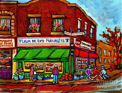 Painting - Depanneur Maison De Pain Patisserie Fleuriste Fruits Montreal Paintings Street Hockey City Scenes by Carole Spandau