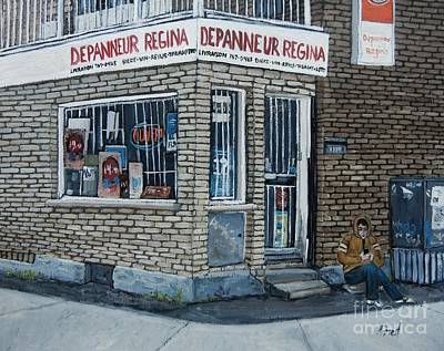 Montreal Art Verdun Street Scenes Painting - Depanneur Regina by Reb Frost