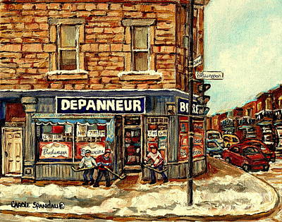 Painting - Depanneur Safa Verdun Cornerstore Wellington St Montreal Winterscene  Paintings Hockey Art Cspandau  by Carole Spandau
