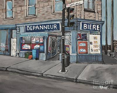 Quebec Streets Painting - Depanneur Safa Wellington Street  by Reb Frost
