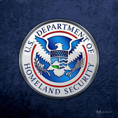 Historical Digital Art - Department Of Homeland Security - D H S Emblem On Blue Velvet by Serge Averbukh