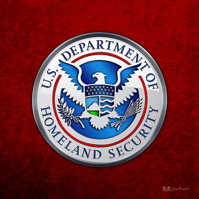 Department Of Homeland Security - D H S Emblem On Red Velvet Original by Serge Averbukh