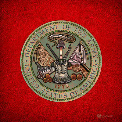 Patriotic Bronze Digital Art - Department Of The U. S. Army Bronze Seal by Serge Averbukh