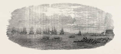 Departure Of The Ocean French Fleet From Brest, France Art Print by French School