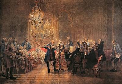 depicting a flute concert of Frederick the Great Art Print by Adolf von Menzel