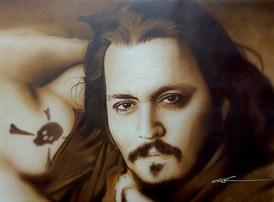 Johnny Depp Painting -  Depp II  by Christian Chapman Art