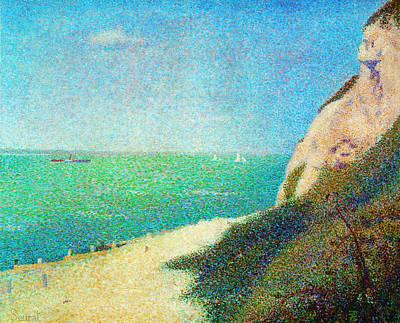 Der Strand Le Bas Butin Bei Honfleur Art Print by Georges Seurat