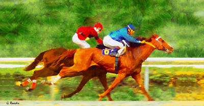 Horses Painting - Derby by George Rossidis