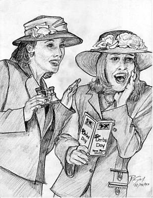 Derby Ladies Pencil Portrait Art Print by Rom Galicia
