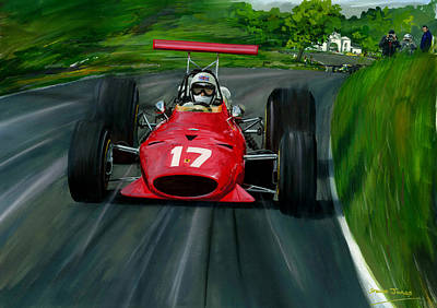 Painting - Derek  Bell Oulton Park Gold Cup 1968 by Steve Jones