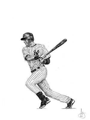 New York Yankees Drawing - Derek Jeter 2 by Joshua Sooter