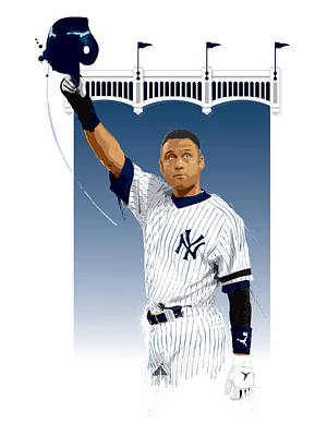 Mlb Digital Art - Derek Jeter 3000 Hits by Scott Weigner