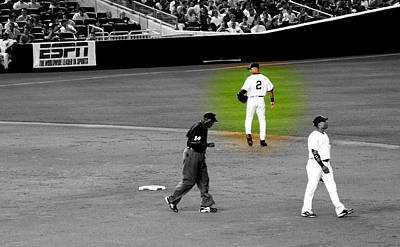 Jeter Digital Art - Derek Jeter At Shortstop Highlighted by Aurelio Zucco