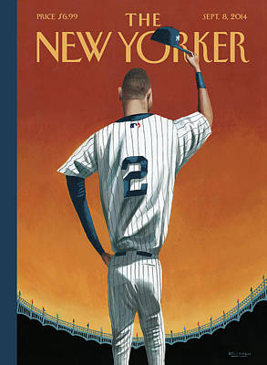 Sports Painting - Derek Jeter Bows by Mark Ulriksen