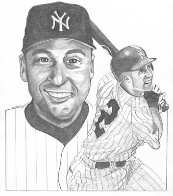 New York Yankees Drawing - Derek Jeter by Brian Condron