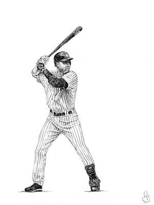 New York Yankees Drawing - Derek Jeter by Joshua Sooter