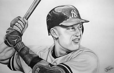 New York Yankees Drawing - Derek Jeter by Justin Boysko