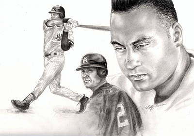 Derek Jeter Drawing - Derek Jeter by Kathleen Kelly Thompson