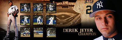 Derek Jeter Panoramic Art Art Print