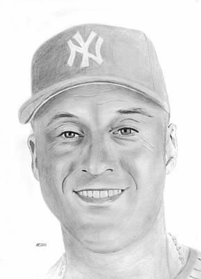 New York Yankees Drawing - Derek Jeter by Pat Moore