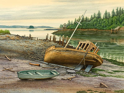Maine Painting - Derelict Boat by Paul Krapf