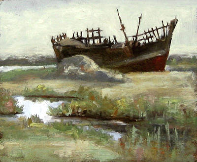 Boat Painting - Derelict Dhow by Michael Britton