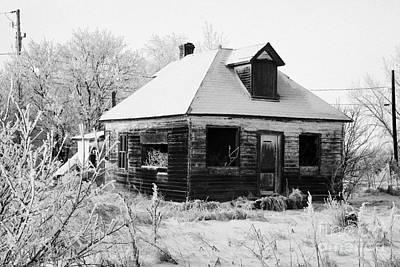 derelict empty wooden traditional house in rural village Forget Saskatchewan Canada Art Print