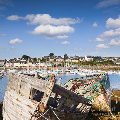 Derelict Fishing Boats Camaret Sur Mer Brittany Art Print by Colin and Linda McKie