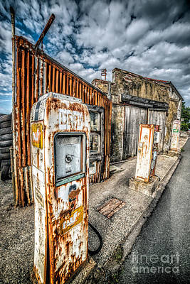 Signed Digital Art - Derelict Gas Station by Adrian Evans