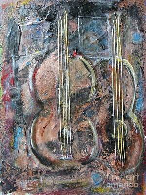 Raw Umber Painting - Derniere Chanson by Chaline Ouellet