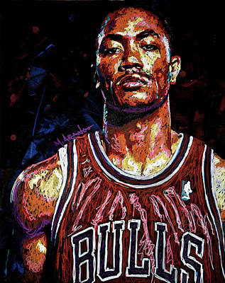 Knicks Painting - Derrick Rose-2 by Maria Arango