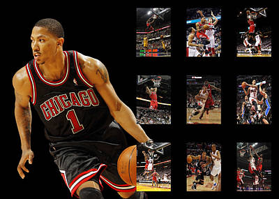 Derrick Rose Art Print by Joe Hamilton