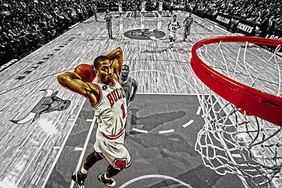 Mj Digital Art - Derrick Rose Took Flight by Brian Reaves