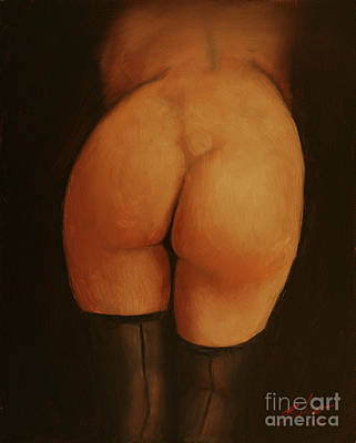 Sepia Chalk Painting - Derriere by John Silver