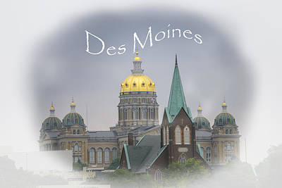 Antique Maps - Des Moines Capitol by Judy Hall-Folde
