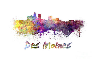 Des Moines Painting - Des Moines Skyline In Watercolor by Pablo Romero